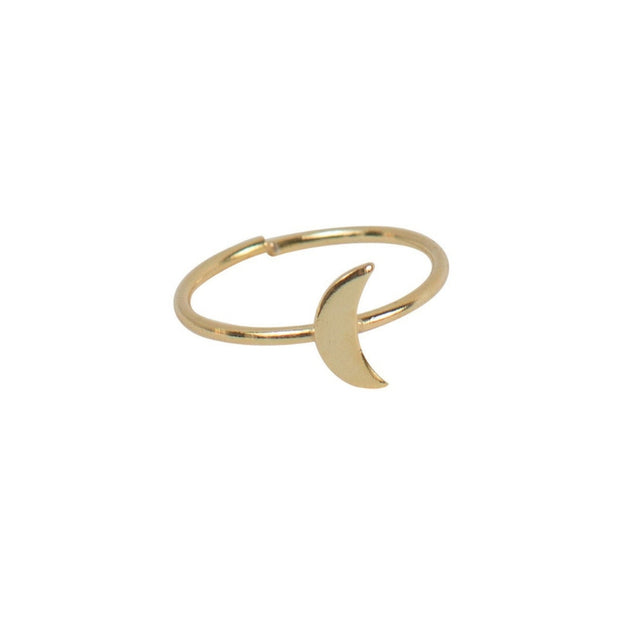 Celestial Goldtone Adjustable Ring - Crescent Moon