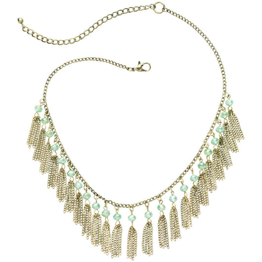 Subtle Sparkle Fringe Mini Tassels Necklace