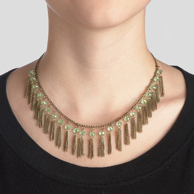 Subtle Sparkle Fringe Mini Tassels Necklace lifestyle
