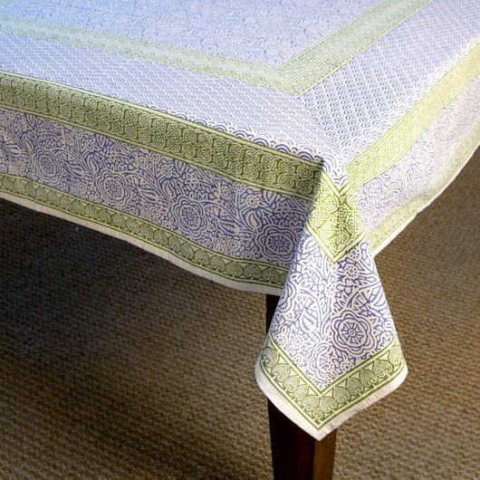60-inch X 90-inch Block Printed Cotton Tablecloth - Fresh Air