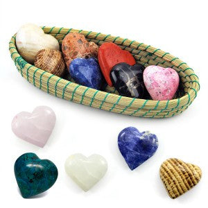 Heart Shaped Semi-Precious Hand Carved Stones