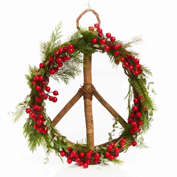 17-inch Wood and Vine Peace Wreath DIY holiday