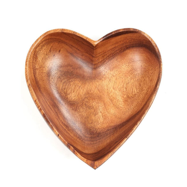 Acacia Wood Hand Carved Heart Shaped Bowl