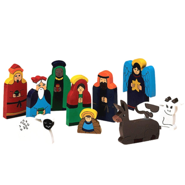Bright Wood 10-Piece Nativity Set