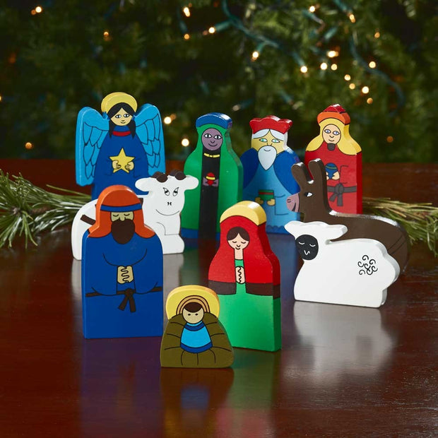 Bright Wood 10-Piece Nativity Set lifestyle