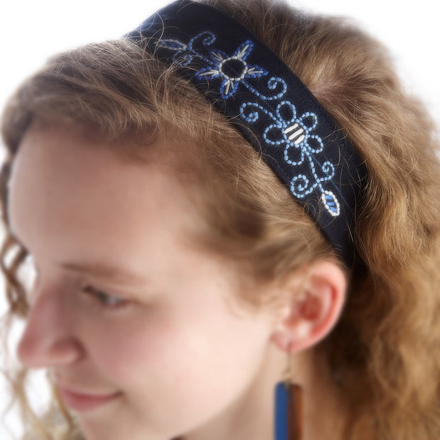 Sweetly Embroidered Denim Fabric Headband lifestyle
