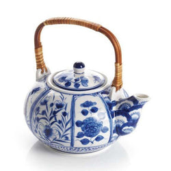 Blue Meadow Ceramic Teapot with Bamboo Handle