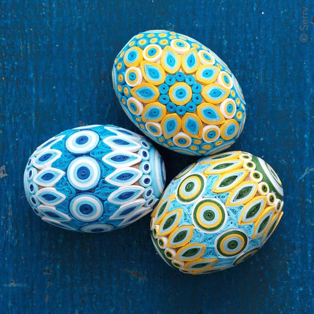 Quilled Easter Egg - Blue & Gold lifestyle