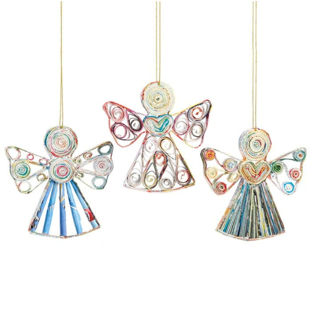 Recycled Paper Angel Ornament assorted