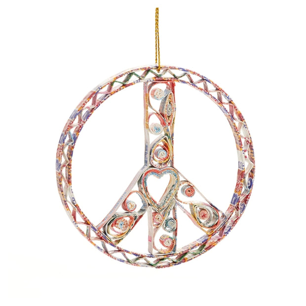 Recycled Paper Quilled Peace Sign Ornament