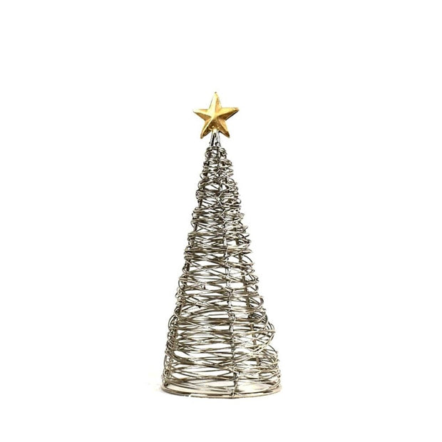 Wrapped Wire Tree with Gold Star Small