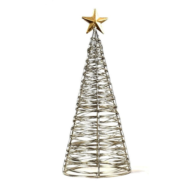 Wrapped Wire Tree with Gold Star large
