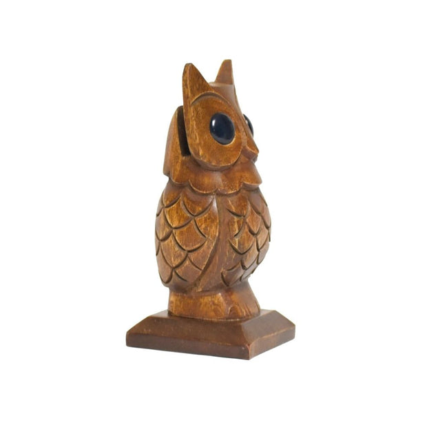 Hand-carved Owl Eyeglasses Holder sideview