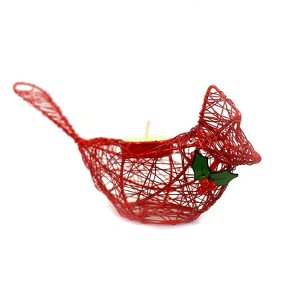 Wrapped Wire Winter Cardinal Votive Holder