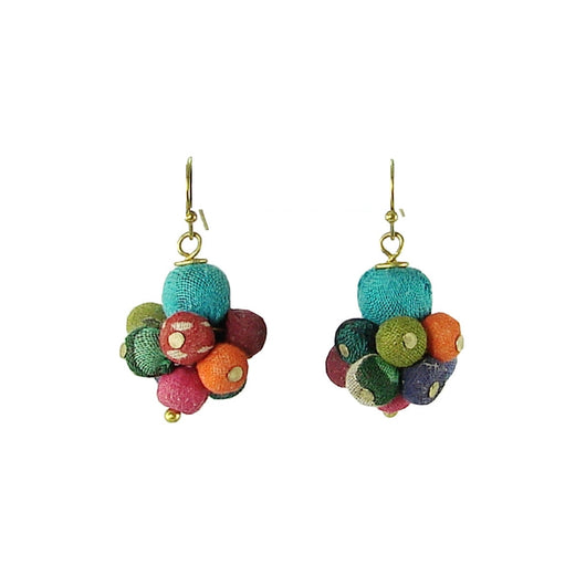 Kantha Cluster Bead Drop Earrings
