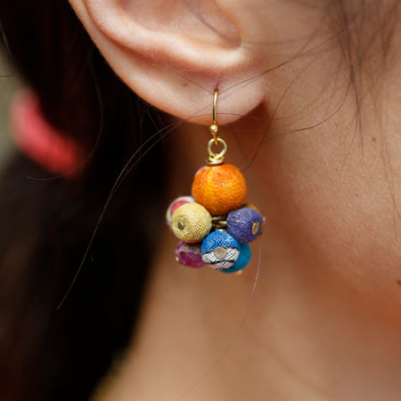 Kantha Cluster Bead Drop Earrings lifestyle