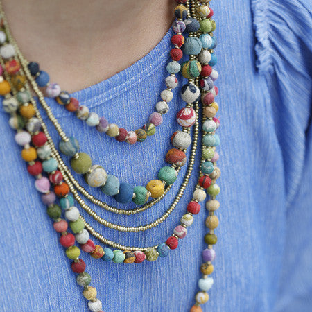 Handmade Kantha Gilded Strands Necklace