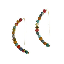 Kantha Bead Linear Arc Earrings