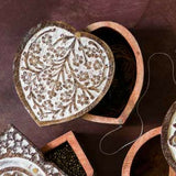 Heart Shaped Antique Finish Pivot Box lifestyle