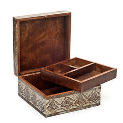 Hand-carved Antique Finish Jewelry Box