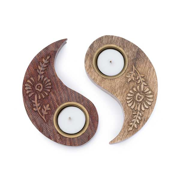 Two-piece Yin Yang Tea Light Holder separated