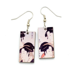 Laser Cut Art Image - Utamaro's Three Beauties Dangle Earrings