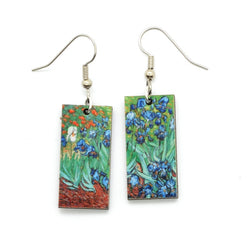 Laser Cut Art Image - Van Gogh's Irises Dangle Earrings