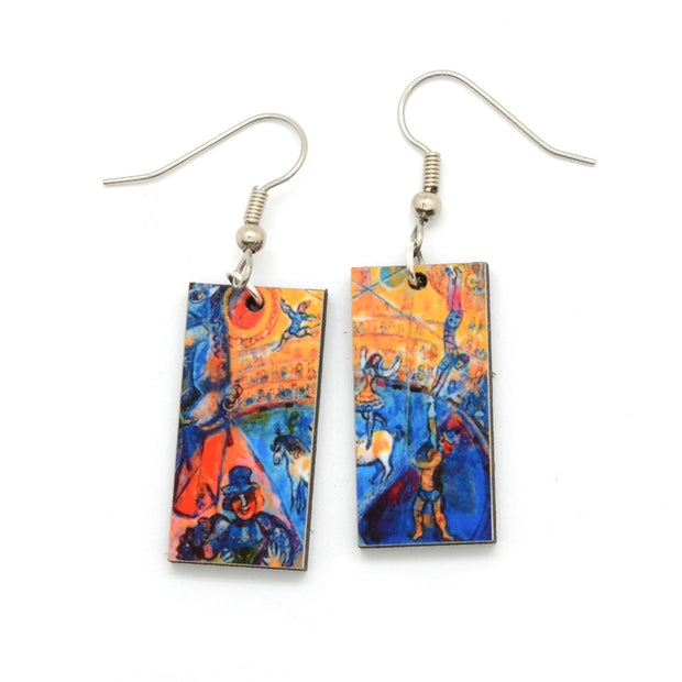 Laser Cut Art Image - Chagall's Circus Horse Dangle Earrings