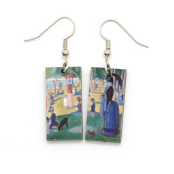 Laser Cut Art Image - Seurat's La Grand Jatte Dangle Earrings