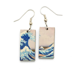 Laser Cut Art Image - Kanakawa's Wave Dangle Earrings