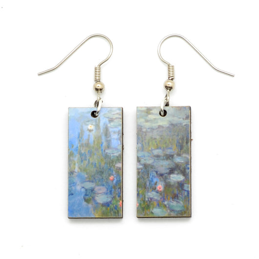 Laser Cut Art Image - Monet's Water Lilies Dangle Earrings