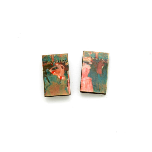 Laser Cut Art Image - Toulouse-Lautrec's Moulin Rouge Dance Stud Earrings
