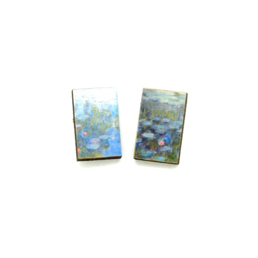 Laser Cut Art Image - Monet's Water Lillies Stud Earrings