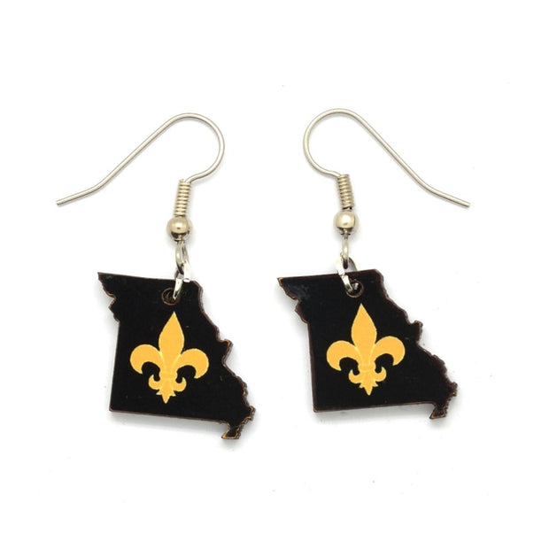 EXCLUSIVE Missouri State & Fleur de Lis Earrings - Black