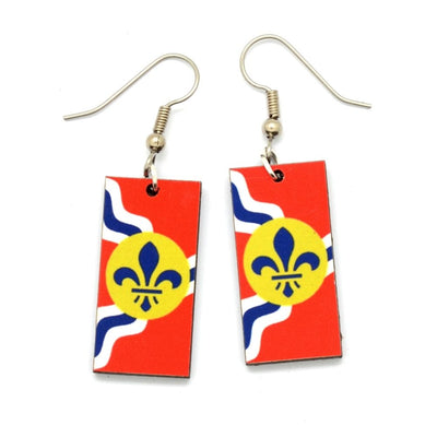 Saint Louis City Flag Dangle Earrings exclusively available at Zee Bee Market