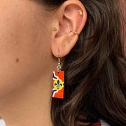 Saint Louis City Flag Dangle Earrings exclusively available at Zee Bee Market on model