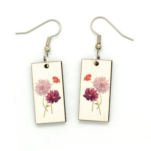 Vintage Botanical Dangle Earrings - Dahlias