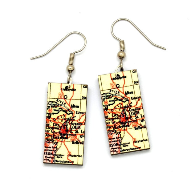 EXCLUSIVE St. Louis Vintage Map Dangle Earrings