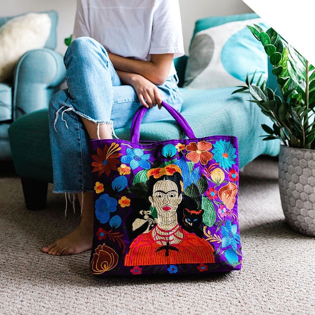Frida Kahlo Embroidered Tote Bag lifestyle