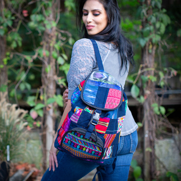 Upcycled Vintage Textiles Patch Backpack on model