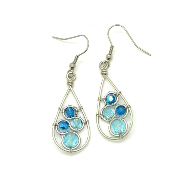 Crystal Swirl Teardrop Earrings - Blue