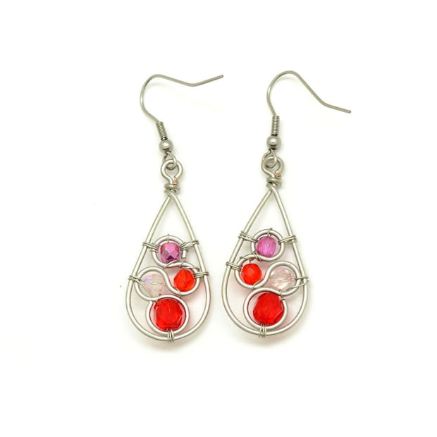 Crystal Swirl Teardrop Earrings - Red