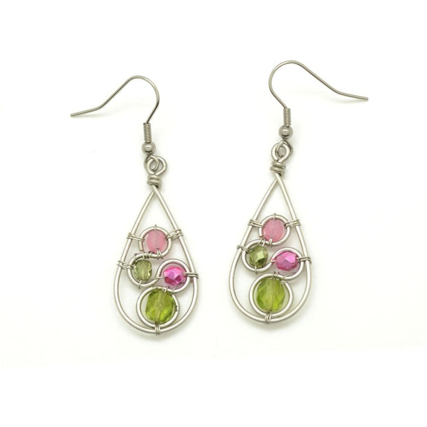 Crystal Swirl Teardrop Earrings - Green