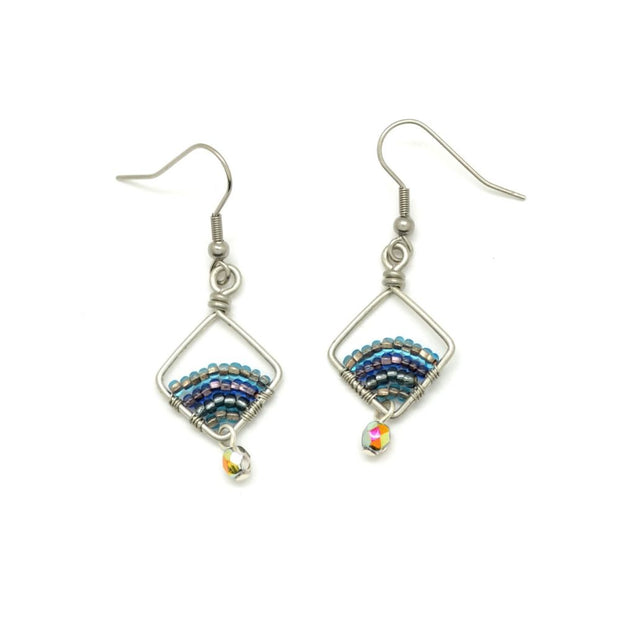 Beaded and Wire Petite Diamond Earrings - Blue