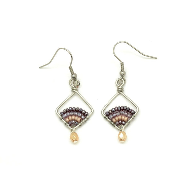 Beaded and Wire Petite Diamond Earrings - Mulberry