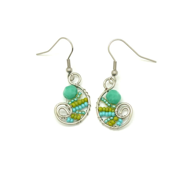 Beaded Petite Paisley Drop Earrings - Green