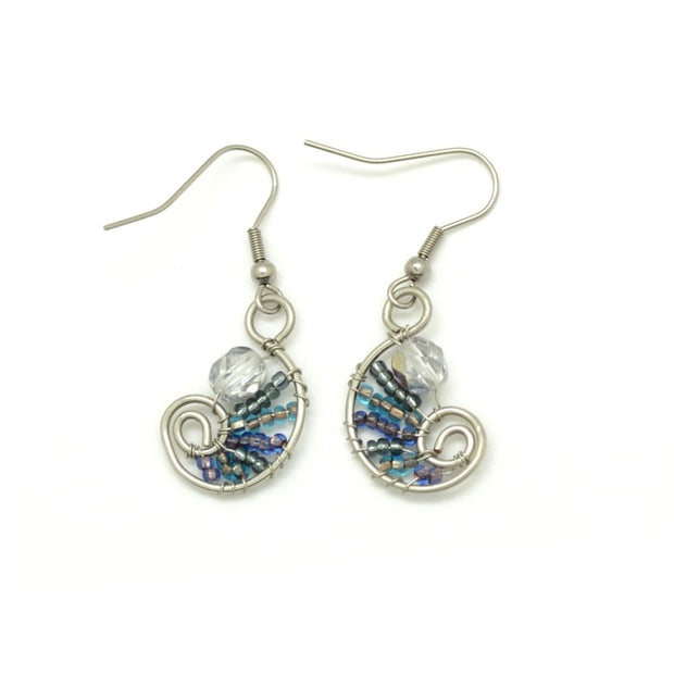 Beaded Petite Paisley Drop Earrings - Blue