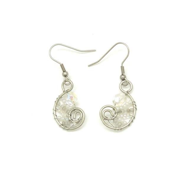 Beaded Petite Paisley Drop Earrings - White