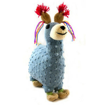 Fair trade and hand knitted 100% cotton stuffed llama toy for kids and adults