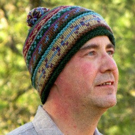 Handknit Wool Patterned Stocking Hat with lining MODEL